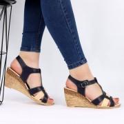 Sandale pentru dame din piele naturală cod 169307 Navy