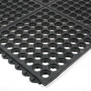Černá gumová protiskluzová protiúnavová průmyslová modulární rohož Fatigue - 90 x 90 x 1,6 cm (80000503) FLOMAT