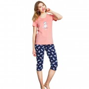Pijama dama din bumbac, pantaloni 3/4, marimi S-XL