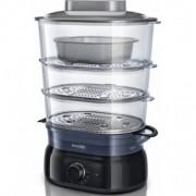 Уред за готвене на пара Philips Daily Collection HD9116/90 5 L, 900 W, съд за ориз/супа, инфузер за подправки и аромати, контейнер за яйца, цвят черен