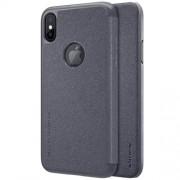 NILLKIN SPARKLE műanyag védő tok / hátlap - FEKETE - oldalra nyíló flip cover - APPLE iPhone X - GYÁRI