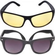 Criba Wayfarer, Retro Square Sunglasses(Black, Yellow)