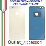 Copribatteria Originale Back Cover Huawei P10 Lite Gold Oro Scocca Vetro WAS-L03T