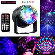 Disco Ball Party Light, 5W RGBWP LED Crystal Rotating Strobe Lamp Mini Magic DJ Lighting Sound Activated Club Karaoke Stage Lights Party Supplies by PORTWORLD