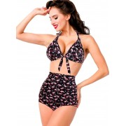 "Divers Maillot de bain 2 pièces Bikini Retro Rockabilly Pin-Up ""Flamingo"""