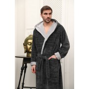 Five Wien Эффектный мужской халат с капюшоном Five Wien FW1486 Серый