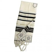 "Black & Gold 100% Wool Kosher Tallit Prayer Shawl 24""x 72"" Imported From Israel"
