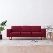 vidaXL 3-местен диван, текстил, виненочервен