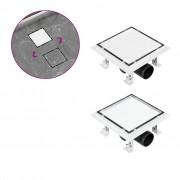 vidaXL rozsdamentes acél 2 az 1-ben zuhanylefolyó 15 x 15 cm