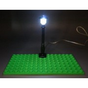 LED Lamp - Light Up Street Lamp USB Powered Lamp (BLACK POST/WHITE LED), LEGO, KREO, and MEGA Compatible. Light Kit by Brick Loot