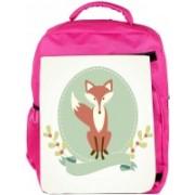 Snoogg Eco Friendly Canvas A Fox Backpack Rucksack School Travel Unisex Casual Canvas Bag Bookbag Satchel 5 L Backpack(Pink)
