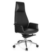 Hjh Sillón de oficina YOKA, máxima calidad y confort, cuero natural negro