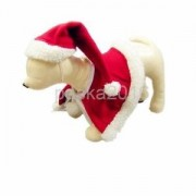 Alcoa Prime Red Hat & Shawl Clothes for Dog Pet Santa Claus Costume on Christmas Day S