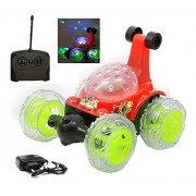 "MousePotatoƒ""› Plastic 360 Degrees Rotating Front Axle Spinning Wheels Stunt Car with Colourful 3D Lights & Music (Red)"