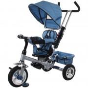 Tricicleta cu control parental detasabil, scaun reversibil, parasolar - Sun Baby - Albastru