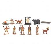 Merkloos Plastic indianen en dieren speelgoed figuren in koker