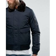 Schott Air Bomber Jacket Detachable Faux Fur Collar Slim Fit in Navy/Brown - Navy