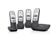 Siemens Gigaset A415A Quattro-/ draadloze / dect / analoge telefoon (4 handsets met grafisch display, met antwoordapparaat en handsfree-functie) zwart