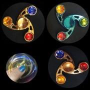 Fidget Spinner Metalic cu Cristale Colorate Diverse Culori