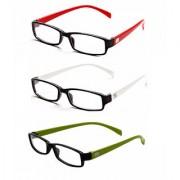 MagJons Red White Green Rectangle Unisex spectacles eye wear frame - Combo Of 3