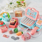 Pretend Play Electronic Cash Register Toy Set With Calculator For Kids, Supports Voice Prompt And Music Playback