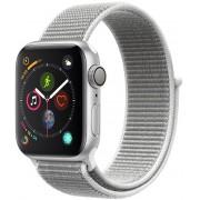 Apple Watch Series 4 40mm stříbrný hliník s bílým provlékacím sportovním řemínkem