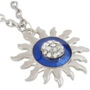 MissMister Silver Plated White CZ Blue Enamel Surya Sun Chain Pendant Necklace Men and Women Fashion