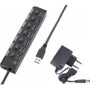 Hub USB 3.0 Renkforce, 7 porturi cu întrerupătoare, port de încărcare iPad