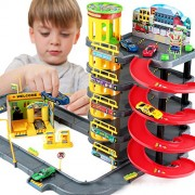 KIINGSUNG Multi Storey City Car Park Auto Parking Garage Die Cast Cars Truck Play Set Toy