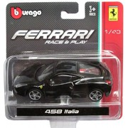 Bburago Ferrari Race & Play - Black 458 Italia 1/43 Scale