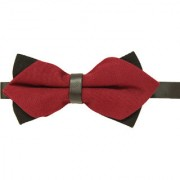 Leonardi Solid Maroon Polyester Free Size Pre-Tied Bow Tie for Men
