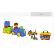 Color Bricks koffer - 47 darabból álló építőjáték készlet figurákkal , Miniland