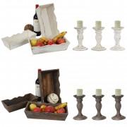 Shabby-Look Set, 3x Obstschale Dekoschale T283, 3x Kerzenständer T361, Vintage ~ Variantenangebot