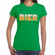 Bellatio Decorations Bier tekst t-shirt groen dames