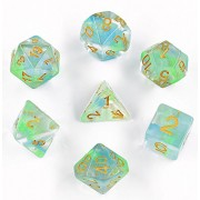 Polyhedral Gaming Dice Complete Sets of 7-Die Dice - D4 D6 D8 D10 D12 D20 & Percentile Dice - Great for Tabletop, Roleyplaying & DND Games, Math & MTG (Blue/Green)