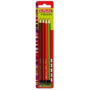 Creioane grafit, mina B, 2B, H, HB set 4 buc/blister Herlitz