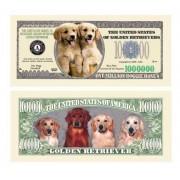Set of 5 - Golden Retriever Dog Million Dollar Bill