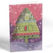 6 luxe kerstkaarten - joy - peace - love - kerstboom