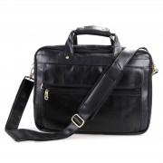 Delton Bags Kompakte Schwarze Leder Aktentasche