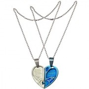 Men Style Couple his and herLove you Necklace Combined Heart for Valentine's Day Gift (2 pieces - his and her) Silver And Blue Stainless Steel Heart Pendent For Men And Women