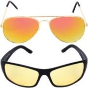 Aligatorr Combo Of 2 Aviator Night Drive Unisex Sunglasses gylnd ylCRLK