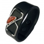 Metro Mod Man Kentucky Agate Red Leather Cuff Armband MB-AGSR413