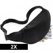 Bagbase 2x Heuptasjes/buideltasjes zwart 38 cm