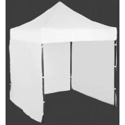 Gyorsan összecsukható sátor 2x2m – acél, Fehér, 3 oldalfal