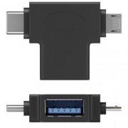 Goobay Adattatore a T USB-A, Micro-B e USB-C™ Nero