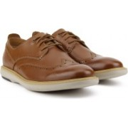 Clarks Flexton Wing Tan Leather Corporate Casuals For Men(Tan)