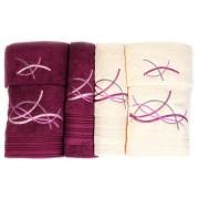 Set de 6 prosoape baie Valentini Bianco Mauve