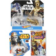 Hot Wheels Star Wars Droids C-3PO & R2-D2 battle damaged / Chopper Rebels Animated & Bonus Coloring Book