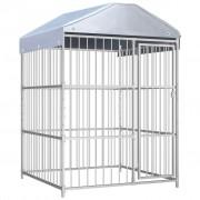 vidaXL Външна клетка за кучета с покрив, 150x150x200 см