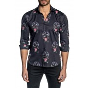 Jared Lang Panther Print Trim Fit Shirt BLACK PANTHER PRINT